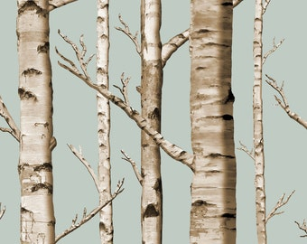 Rustic Trees Fabric - Birch Grove In Overcast By Willowlanetextiles - Woodland Decor Cotton Fabric By The Yard With Spoonflower
