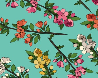 Spring Blossom Fabric - Blossoming Branches By Juliabadeeva - Mod Blue Yellow Pink Floral Cotton Fabric By The Yard With Spoonflower