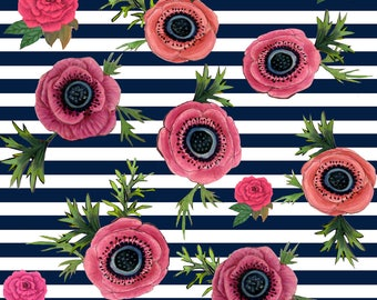 Rose Fabric - Watercolor Floral Nautical Stripe By Magentarosedesigns- Pink Floral on Navy Stripe Cotton Fabric By The Yard With Spoonflower