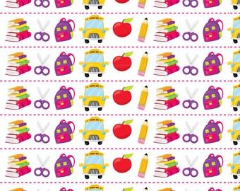 School Supplies Fabric - School Supplies 10 By Prettygrafik - Back to School Book Bus Pencil Bag Cotton Fabric By The Yard With Spoonflower
