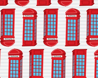 Red Phone Booth Fabric - I Heart London 10 By Prettygrafik - London Phone Box Great Britain UK Cotton Fabric By The Yard With Spoonflower