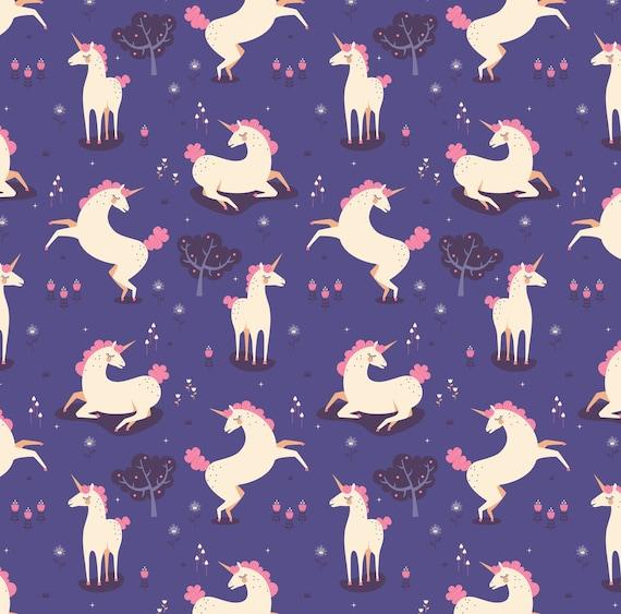 Purple Unicorn Fabric By The Yard Unicorn Land By Zesti
