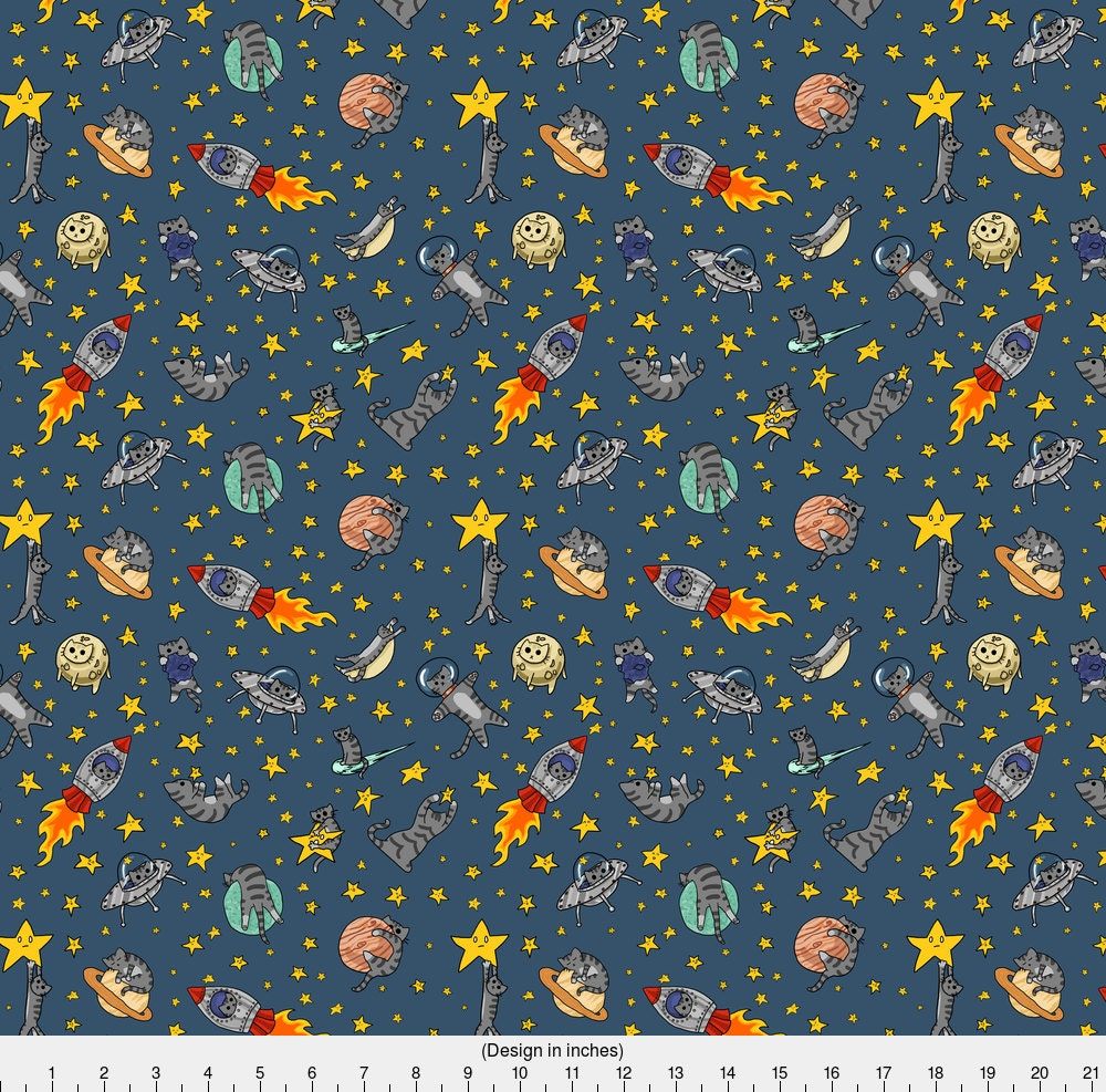Space cat fabric astro cats by amber morgan galaxy for Outer space fabric by the yard