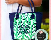 TEACHER GIFTS , Monogrammed lunch bag , personalized lunch bag ,  beach cooler bag , insulated lunch tote , Island Palm