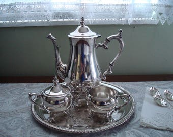 Nice Wm Rogers Silverplate Tea Set, 4 Pieces, Teapot, Creamer, Sugar, Serving Tray, William Rogers, Silver Plate, Silver Tea Set