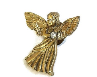 Angel Tac Pin or Brooch Vintage Clear Rhinestone Signed CAMCO
