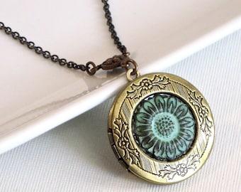 Sunflower Locket Necklace - Verdigris Patina, Brass Locket, Flower Jewelry, Nature Jewelry, Floral Jewelry,