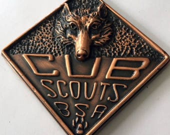 Vintage Cub Scout Copper Paperweight