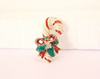 Christmas Candy Cane Pin Vintage Christmas Figural Red Bow Rhinestone Brooch