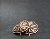 ON SALE SALE - Rust Brown Shield Dangle Earrings Patina Large Brass Huntress Tribal Boho Jewellery