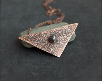 ON SALE Grey Pyrite Stone Pendant Necklace - Floral Etched Copper, Oxidized Metalwork, Geometric Triangle, Bohemian Jewellery
