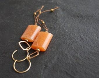 ON SALE Orange Aventurine Stone, Gold Brass Dangle Drop Earrings - Rustic Brown Irish Linen Fiber Thread Metalwork Boho Jewellery
