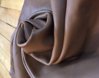 Super soft Lambskin leather hide in beige/camel - a 4 plus square foot hide