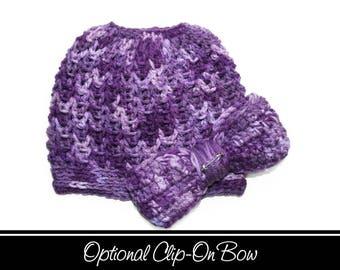 Purple Messy Bun Hat, Purple Tobaggan Hat, Messy Bun, Purple Pony Hat, Messy Bun Beanie, Crochet, Purple Ponytail Hat, Mom Life