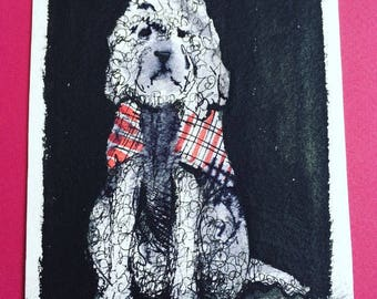 New Tartan Coat is a little original drawing of a Laradoodle by Andrea Joseph