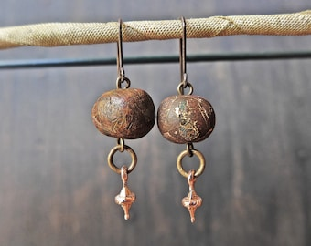 Handmade artisan earrings with polymer clay art beads- Wood and Metal series by fancifuldevices