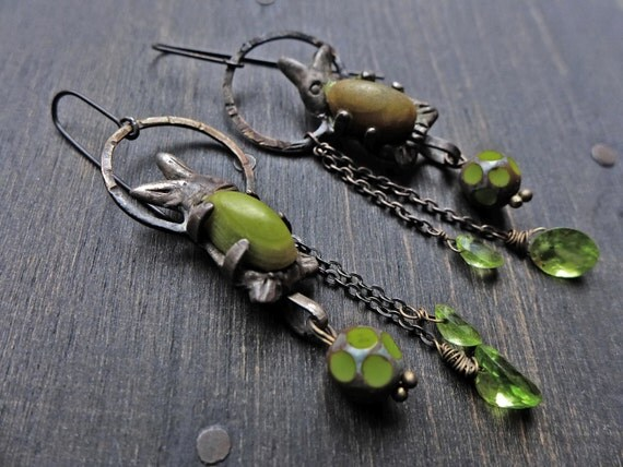 "Artisan sterling earrings with peridot and bunnies- ""Parents of Spring"""