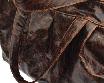 Large Damask Embossed Brown Leather Travel Bag