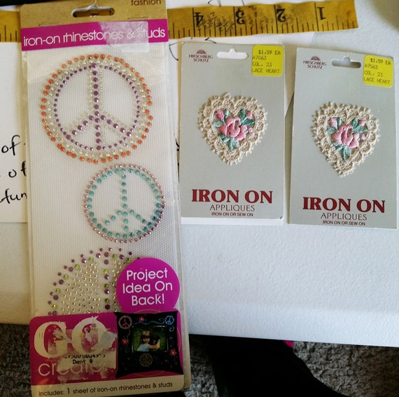rhinestone gem iron on appliques peace sign floral lace heart lot of 3 fabric crafts supplies