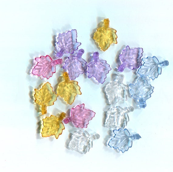 acrylic leaf charms leaf pendants plastic charms plastic leaf charms acrylic drop leaves 16 pc 13mm x 15mm mixed colors jewelry findings