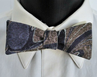 Upcycled Marbled Skinny Bow Tie Reversible Made in Asheville NC MM-#15-44