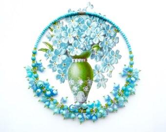 FORGET-ME-NOT Statement Choker, Blue Bridal Cluster Choker, Flower Choker, Art Nouveau Choker, Handlinked Necklace, Cottage Chic Choker
