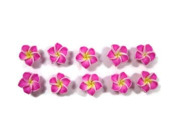 12 mm Polymer Clay Plumeria Flowers Set of 10 (MP13)