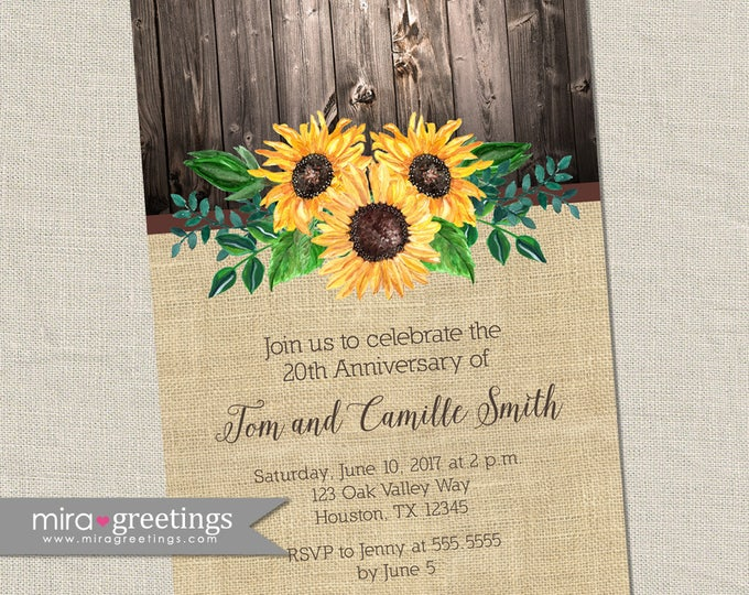 Sunflower Anniversary Invitation - Printable Digital File