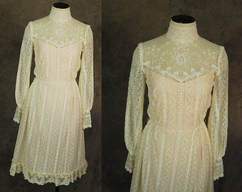 vintage 70s Lace Dress - 1970s Sheer Cream Lace Dress Victorian Prairie Dress Sz XS