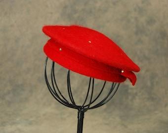 vintage 40s Beret - 1940s Red Rhinestone Studded Wool Beret Tilt Topper Hat