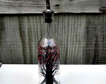 Dish Soap Dispenser,  Recycled Clear Beer Bottle, Painted Glass, Oil and Vinegar Bottle, Black Trees, Red Leaves