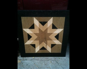 PriMiTiVe Hand-Painted Barn Quilt, Small Frame 2' x 2' - Harvest Star Pattern (Tan Version)