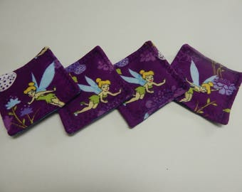 Set of 4 Fabric Drink Coasters Disney Tinker Bell