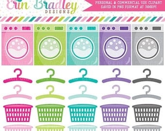 50% OFF SALE Laundry Clipart Graphics Chores Clip Art Washing Machines Hangers Laundry Baskets Personal & Commercial Use