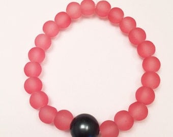 12mm Tahitian Green Shell Pearl and Coral Frosted Glass Beaded Bracelet