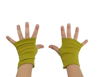 Toddler Arm Warmers in Chartreuse - Green Yellow - Fingerless Gloves - LAST PAIR