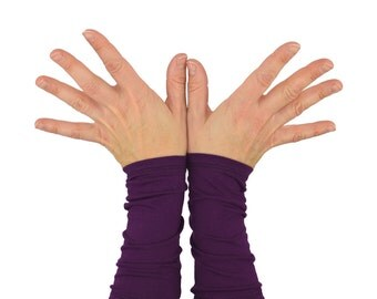 Arm Warmers in Perfect Plum - Purple - Organic Cotton Long Cuffs - Eco Friendly - LAST PAIR