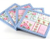 Quilted Fabric Coasters - Blue Shabby Cottage Chic Roses, 4 Reversible Patchwork Mini Quilt Candle Mat Set, Pink Flowers Home Decor Coasters