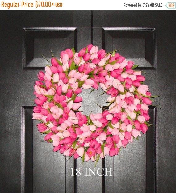 SPRING WREATH SALE Spring Wreath- Pink Mini Tulip Spring Wreath- Front Door Wreath for Spring