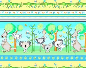 Koala Party Kangaroo Fabric, Koala Bears, Stripe Fabric, Kangaroos, Crocodiles by Studio E