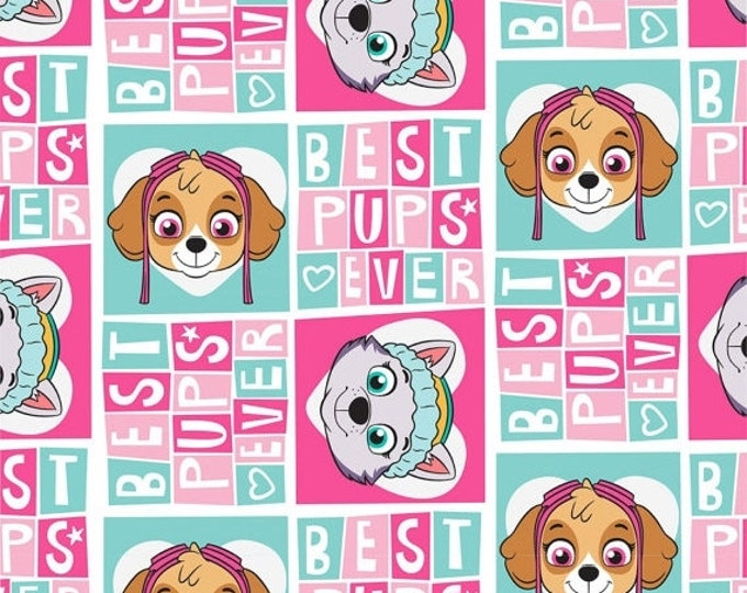 Paw Patrol Fabric, Paw Patrol Girl Pup Power Pink/Multi Cotton Children's Fabric