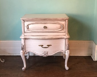 Vintage French nightstand shabby chic ivory distressed cottage prairie bedroom