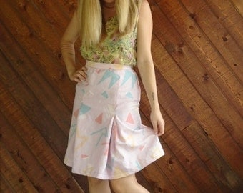 extra 30% off sale . . . Pink Printed Pleated High Waist Skirt - Vintage 80s - XS S