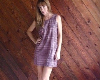 extra 30% off sale . . . Pink Plaid Checkered Sleeveless Mini Shift Dress - Vintage 90s - XS S