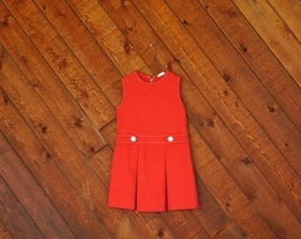 20% off SALE ... Red Sleeveless MOD Mini Dress - Vintage 60s - Girls