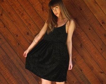 20% off SALE ... Black Crushed Velvet Mini Babydoll Dress - Vintage 90s - S M