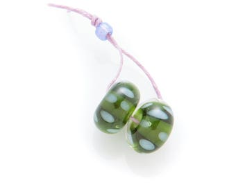 green & lavender spotted beads