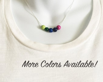 Colorful Bead Necklace, Minimal Necklace, Wood Bead Necklace, Silver Necklace, Simple Statement Necklace
