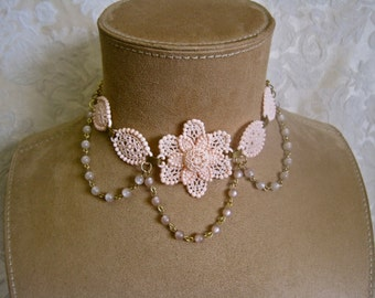 Apple Blossom Time: Pale Pink Choker Necklace Vintage Assemblage Bridal Necklace Palest Peach Floral Retro 50s Pearlized Beaded Drapes