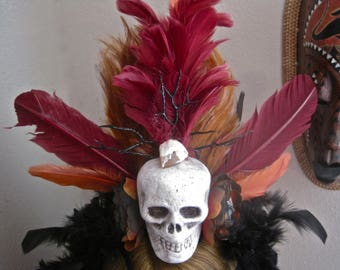 Voodoo Priestess Priest SKULL Feathers Witch Doctor Tribal Festival Primitive One of a Kind Burgundy Copper Black: ELEMENTAL MAGICK